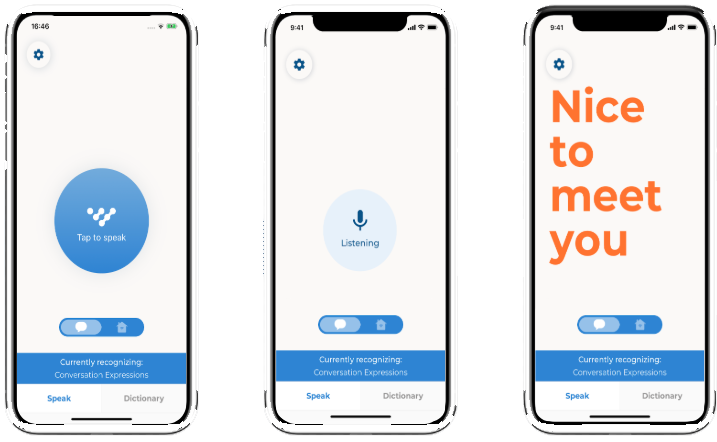 Screenshots from Voiceitt, the 1st says 'tap to speak', the 2nd says 'listening', the 3rd displays the text 'Nice to meet you'.