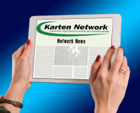 Example of the Karten Network newsletter being read on an iPad